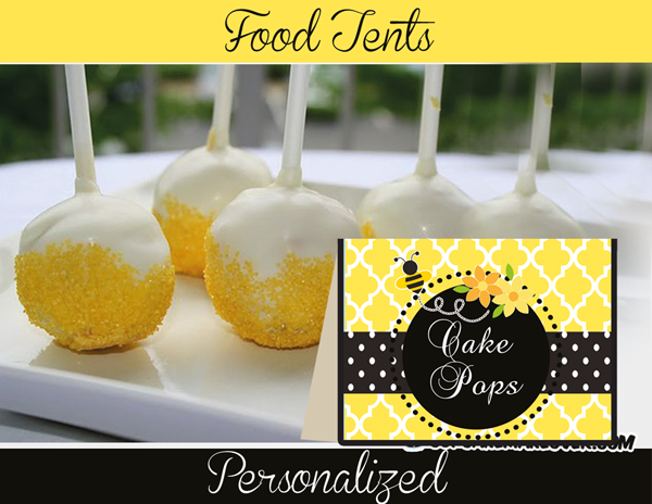 baby shower bumble bee food labels