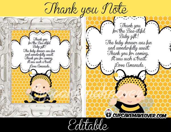 Bumble Bee Editable Thank You Notes INSTANT DOWNLOAD