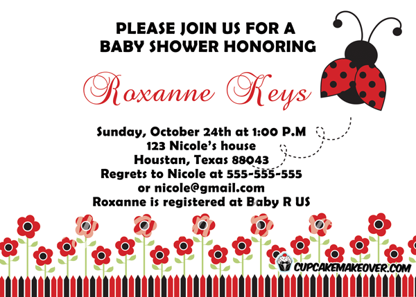 lil lady red black ladybug baby shower invite