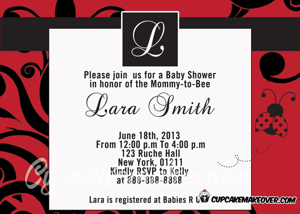 modern ladybug baby shower invitation card