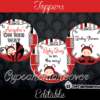 editable red Lady bug favor tags gift labels