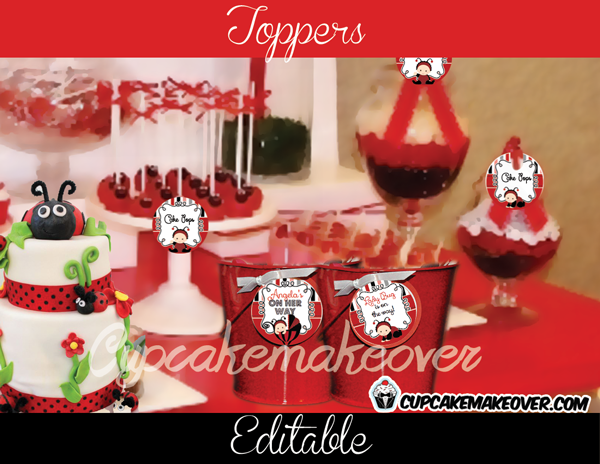 red lady bug editable gift labels