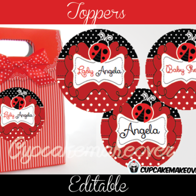editable red lady bug favor stickers