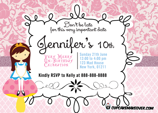 baroque pink alice in wonderland birthday invite