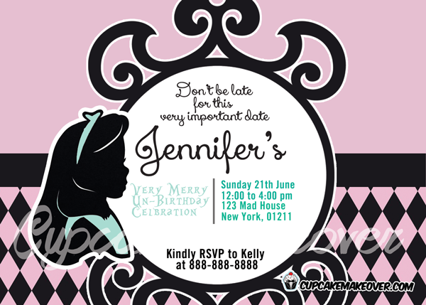 pink purple black profile alice in wonderland invitation