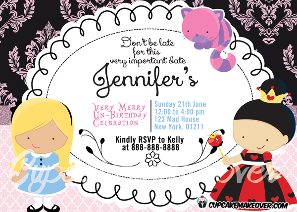 Baroque tea party alice in wonderland invitation card