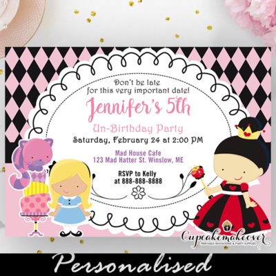 alice in wonderland invitation whimsical birthday onederland party