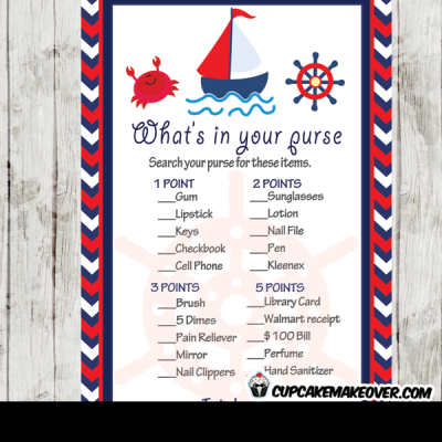 red navy blue nautical baby shower games