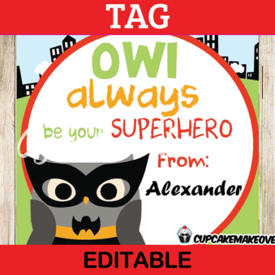 editable printable owl bat superhero valentine tags mini cards
