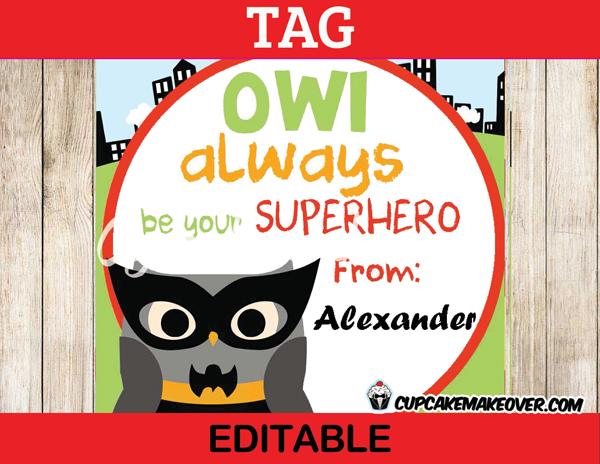 editable printable owl bat superhero valentine tags mini cards