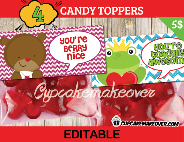 cute toad bear printable Valentine treat bag toppers