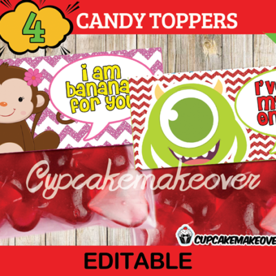 cute printable Valentine treat bag toppers
