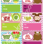 toad bear money monster valentines treat bag labels