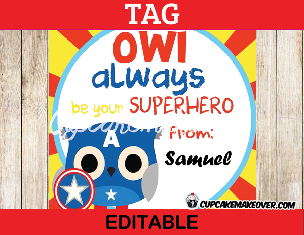 printable owl superhero tags valentines day captain america