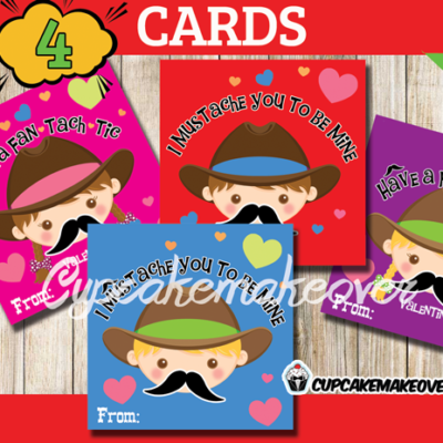printable custom Mustache Valentine Card