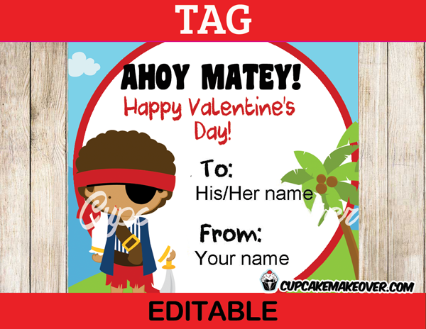 valentine's day pirate printable labels