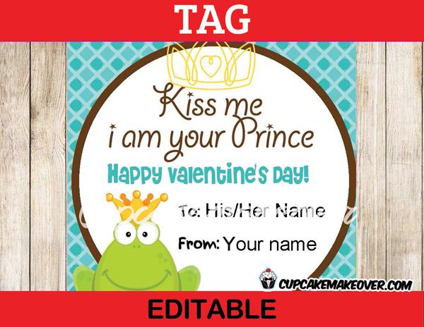 editable printable kiss me frog prince valentine tags