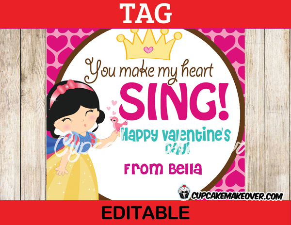 printable valentine snow white editable card labels