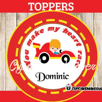 boy valentine stickers race car personalized label