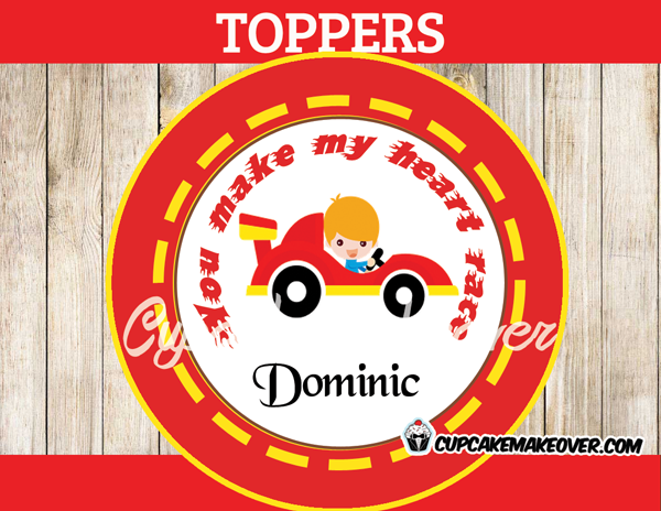boy valentine stickers race car personalized label