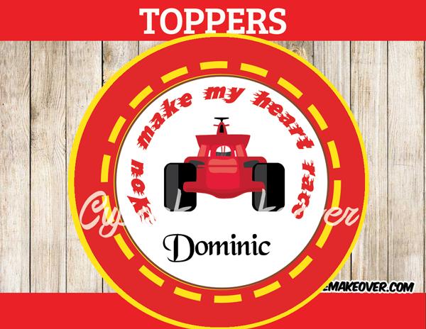 race car valentne's day stickers labels boys