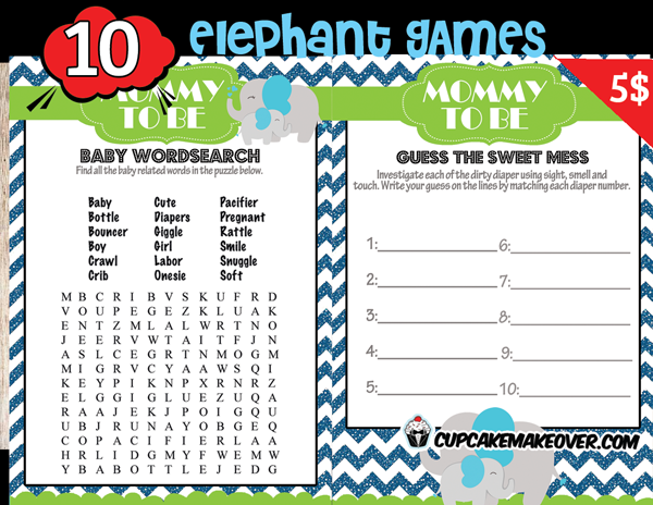 printable blue elephant baby shower games