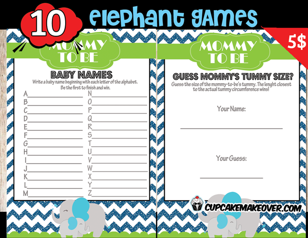 Baby Shower Games Blue Elephant theme