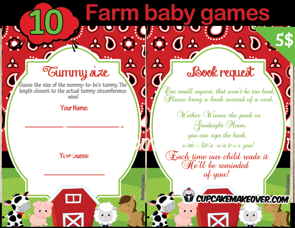 Farm Barnyard Cow, Pig, Sheep, Horse Theme Baby Shower