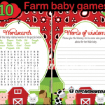 Baby Wishes Printable Farm Animals shower games