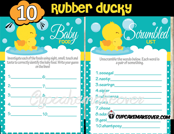 rubber ducky baby shower party games