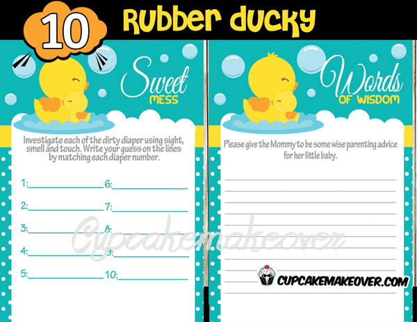 Rubber Ducky Baby Shower Games Package Cupcakemakeover