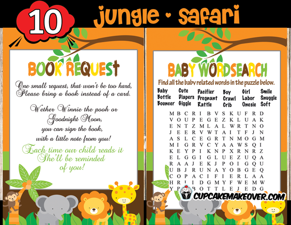 Jungle Baby Shower Game Package Instant Download. Jungle Theme ...