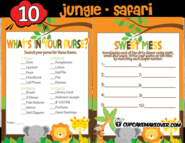 Jungle baby shower game package instant download for Food bar games free online
