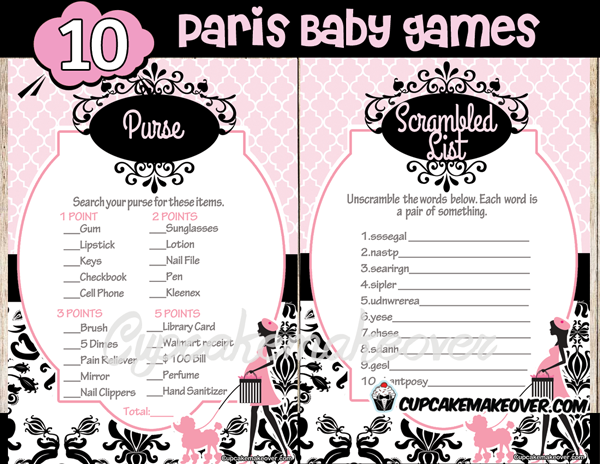 Paris Baby Shower Game Package Instant Download Cupcakemakeover
