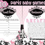 Pink Paris Themed Baby Shower printables