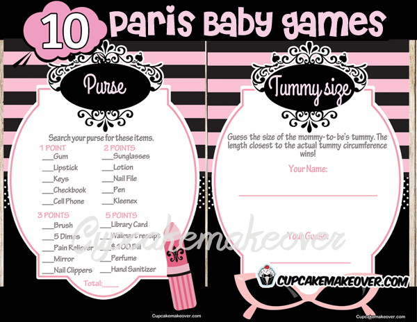 Printable Paris Baby Shower Games