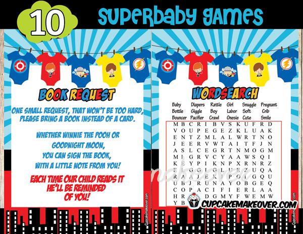 superhero onesies baby shower theme printables