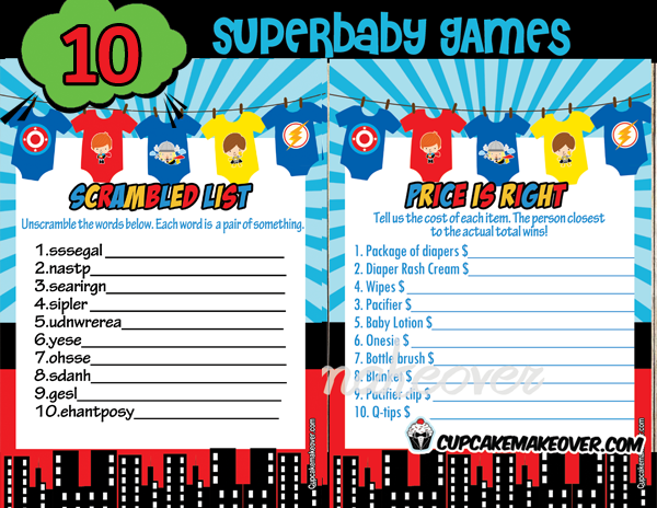 Superhero Jumpsuits Baby Shower Games Instant Download
