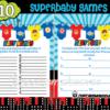 super hero onesies baby shower theme games