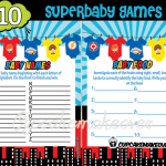 super hero onesies baby shower theme games