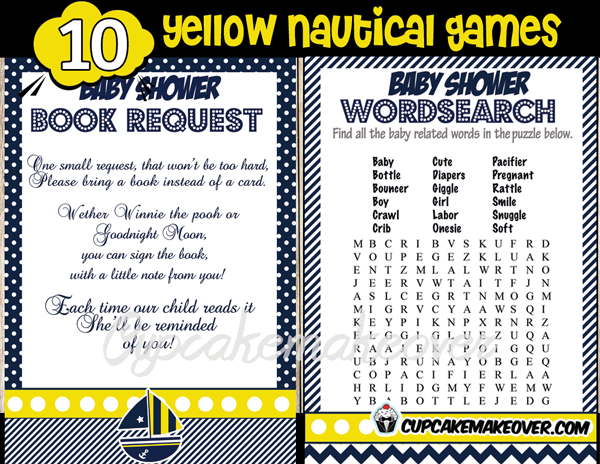300 yellow nautical baby shower games book request and wordsearch
