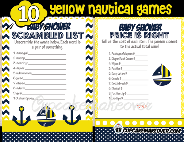 Nautical Navy Yellow Baby Shower Game Package Instant