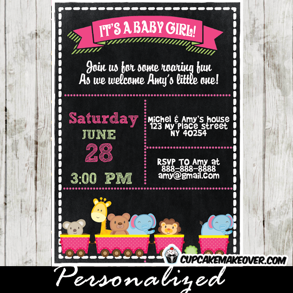 safari animals train choo choo baby shower invitation girl