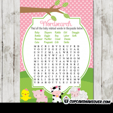 pink barn farm animals baby shower games girl