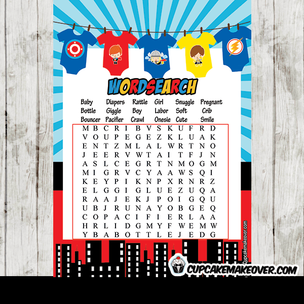 superhero jumpsuits baby shower games