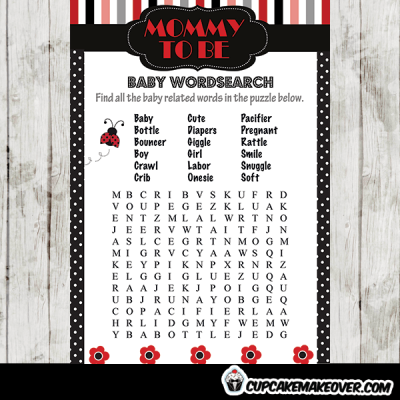ladybug themed baby shower games red black white