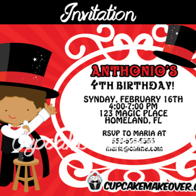 printable magic party invitation