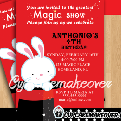 kids birthday magic show party invitation card