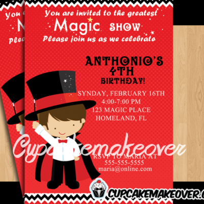 greatest magic show birthday invitation card