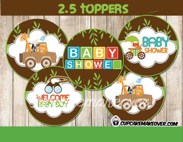 jungle animals baby shower boy toppers tags
